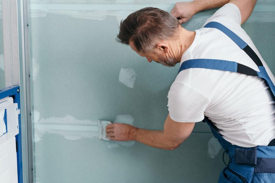 plasterboard being installed